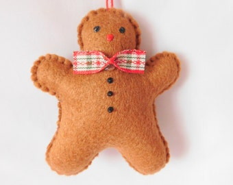 Handmade Gingerbread Man Christmas Decoration (single)