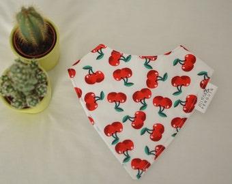 Retro cherry handmade baby bandana style dribble bib