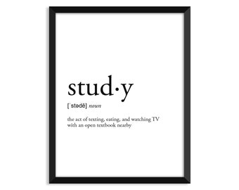Study Definition, College Dorm Room Decor, Dorm Wall Art, Dictionary Art  Print,