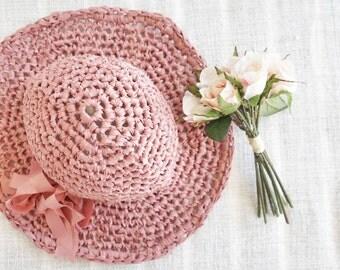 women sun hat | wide brim hat | pink hat | panama hat | floppy hat | hand knitted hat | beach hat | pink girls hat