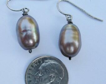silvery gray pearl earrings
