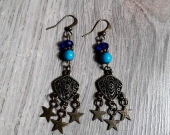 Earrings dangling original Celeste, Star, Crystal, turquoise, semi precious beads, starry