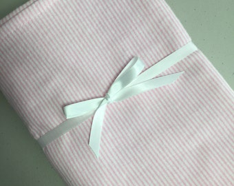 """100% Cotton Flannel Swaddle Receiving Blanket.  Extra Large - 40""""x 40"""".   - Pink Pinstripe"""