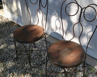 Vintage Wrought Iron Ice Cream Parlor Chairs