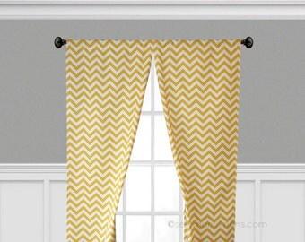 Yellow Curtains Drapes Yellow Nursery Decor Curtain Panels Window Treatments Chevron Zig Zag Stripe Decor