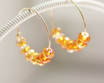 hoop earrings with beads, orange hoop earrings, crystal earrings, gold hoop earrings, orange earrings, crystal earrings