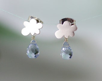 cloud earrings, rain drop earrings, rain drop earrings, december birthstone, rain earrings, kawaii earring, gemstone cloud, post earrings