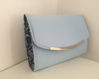 Sky blue clutch bag, handmade