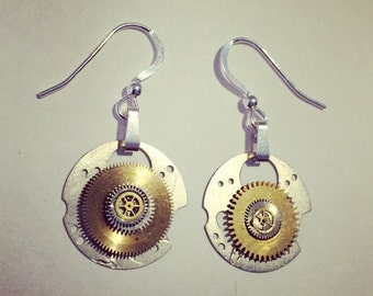 Silver and cog earrings