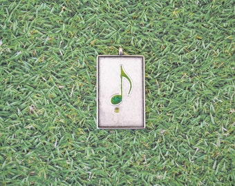 Music rectangular pendant with green note