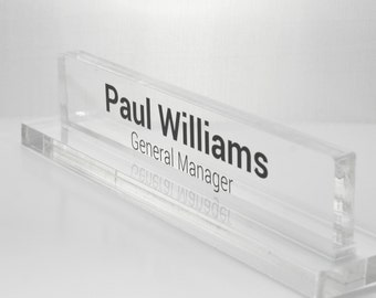 "Personalized Desk Name Plate made from 3/8"" Glass-like Acrylic"