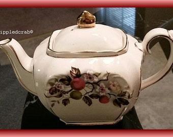 Vintage Sadler Cube Teapot Built-In Strainer Cream Cherry Blossoms & Branch Gold Trim