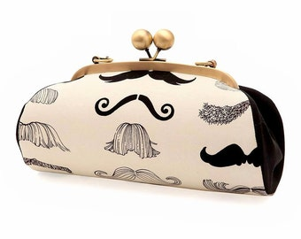 Mustache Clutch with Straps, Black and White Purse, Kiss lock frame Purse, Party Clutch, Alexander Henry Fabric, Gift for her