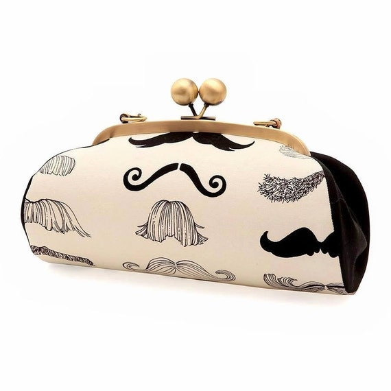 SALE, Mustache Clutch with Straps, Black and White Purse, Kiss lock frame Purse, Party Clutch, Alexander Henry, Gifts for her