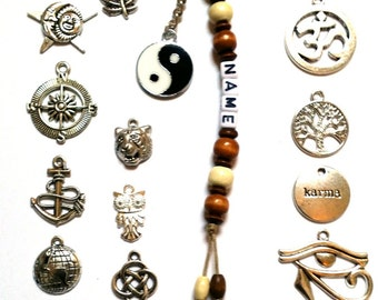 Personalised Keyring - Wiccan, Surfer, Indie, Bag Charms - Unisex Keyrings, Car Keychains