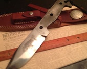 Camp survival knife 1095 clay tempered leather sheath skeleton frog etched