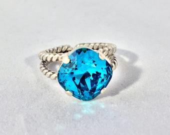 "OCEAN BLUES Ring - *Indicolite* 12MM Cushion Cut Swarovski Stone! GORGEOUS - ""Luxstone By Lauren"""