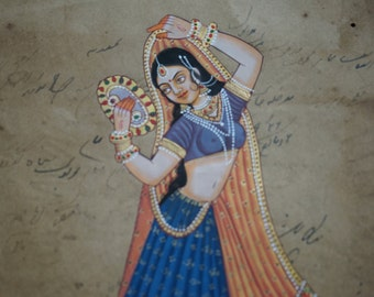 Indian miniature painting painted on postcard. Rajasthan