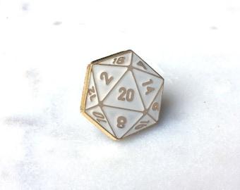 D20 Enamel Lapel Pin (white)