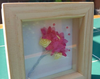 boxed picture frame with colourful flower bunch