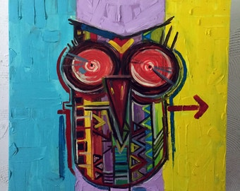 Oil Painting Abstract Owl