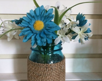 Decorative Aqua Mason Jar