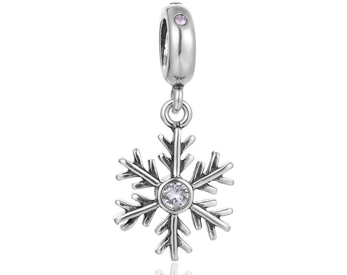 Charmanic Snowflake Pendant Charm | Silver Jewellery, Christmas Gift for Her, Star Charms for Bracelet, Delicate Jewellery Gift