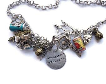 Zombie Necklace,  Silver Zombie Necklace, Dead Walking Necklace,  Dead Walking Jewelry, Zombie Jewellery  Zombie, ZN02