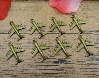 20 Airplane Charms Antique Bronze Tone 3D Charms-RS319