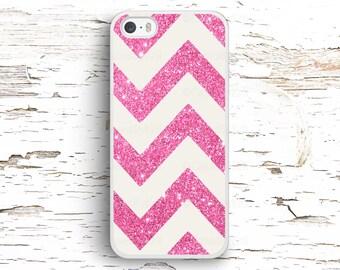 Pink Glitter Chevron Case, iPhone 7 6S 6 SE 5S 5 5C 4S, Samsung Galaxy S6 Edge S5 S4 S3, LG G4 G3, Sony Xperia Z5 Z3, HTC One M8