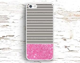 Pink Glitter Black Stripes Case, iPhone 7 6S 6 SE 5S 5 5C 4S, Samsung Galaxy S6 Edge S5 S4 S3, LG G4 G3, Sony Xperia Z5 Z3, HTC One M8