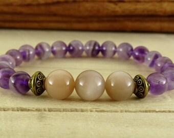 amethyst bracelet moonstone jewelry womens bracelet purple jewelry beaded bracelet girlfriend gift for girlfriend bracelet genuine moonstone