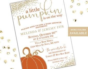 Fall Baby Shower Invitations, A Little Pumpkin Is On The Way, Pumpkin Baby Shower Invitation, Printable Baby Shower Invitation Set