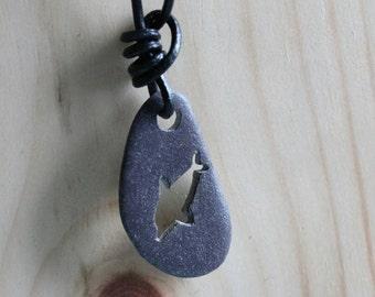 Drilled beachstone from Ireland, dolphin irish handmade jewelry