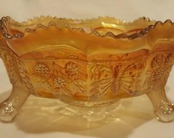Fenton Carnival Glass Marigold Panther Bowl Vintage