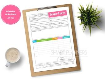 A4 Printable order form, color. Planner insert. Order form for binder. Etsy seller. Order tracking template. Instant download