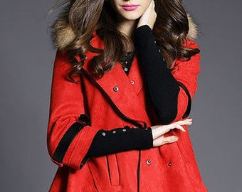 3/4-Sleeve Double Breasted Coat