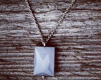 Blue Chalcedony Gemstone Argentium Silver Necklace