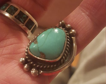 Beautiful Old Pawn Bisbee Mined Turquoise Ring