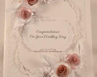 handmade wedding cards, vintage rose cards, anniversary cards, congratulations cards, elegant cards, 3d floral cards, elegant wedding cards