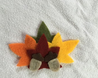 Leaves and Acorns: Fall Hair Clip, Magnet, or Brooch