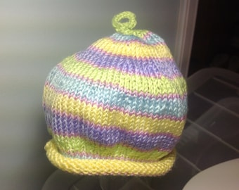 Multi striped baby hat