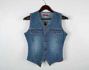 Denim Vest Vintage Women Vest Denim Waistcoat Tight Fit Button Up Country Waistcoat 90s Style Denim Vest Size Small