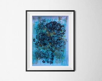 Abstract Floral, Etched Art, Archival Art Print