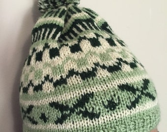 Green knitted hat