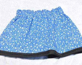 Girls' Blue Floral Skirt