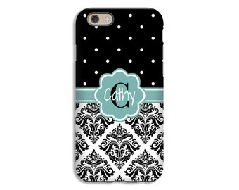 Black Damask iPhone 7 case/7 Plus, monogram iPhone 6s plus case, iPhone 6s case, iPhone 6 Plus case/6 case, 3D iPhone case, iPhone SE case