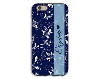 Personalized iPhone SE case, floral flourish iPhone 6s Plus case, navy iphone 6s/6s Plus/6/6 Plus/5c/5s/5 cases, personalized iphone cases