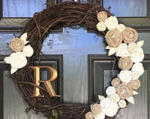 Rustic Wreath with Neutral Burlap Rosettes