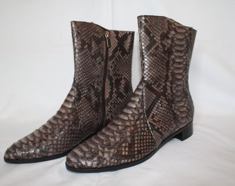 Snake leather ankle boots